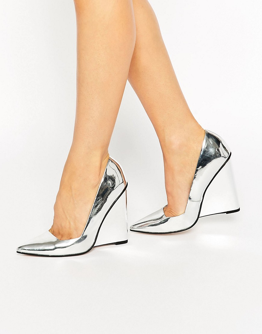 Pulse Pointed Wedges Silver - predominant colour: pale blue; occasions: evening, occasion; material: faux leather; heel height: high; heel: wedge; toe: pointed toe; style: courts; finish: metallic; pattern: plain; season: s/s 2016; wardrobe: event