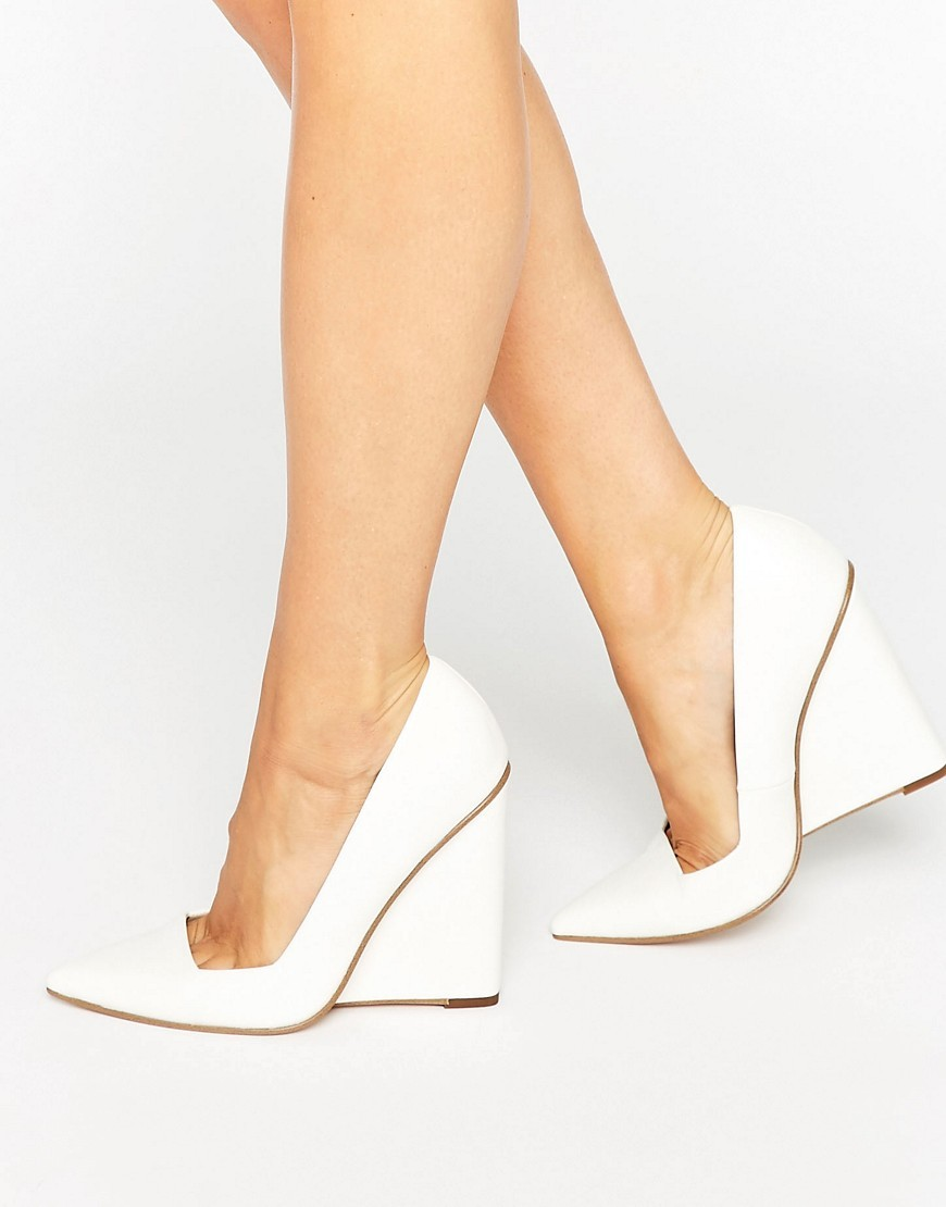 Pulse Pointed Wedges White - predominant colour: white; occasions: evening, occasion; material: faux leather; heel: wedge; toe: pointed toe; style: courts; finish: plain; pattern: plain; heel height: very high; season: s/s 2016; wardrobe: event