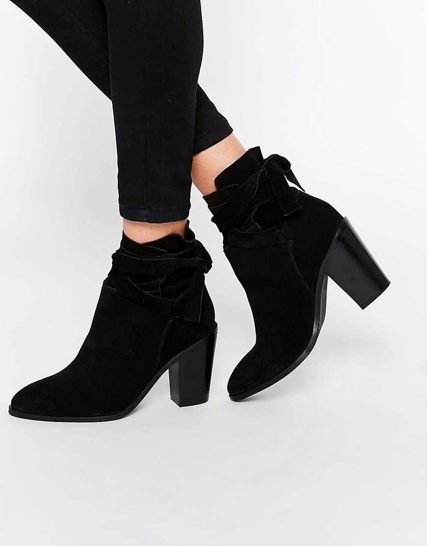 Elishia Suede Slouch Ankle Boots Black Suede - predominant colour: black; occasions: casual, creative work; material: suede; heel height: high; heel: block; toe: pointed toe; boot length: ankle boot; style: standard; finish: plain; pattern: plain; season: s/s 2016; wardrobe: highlight