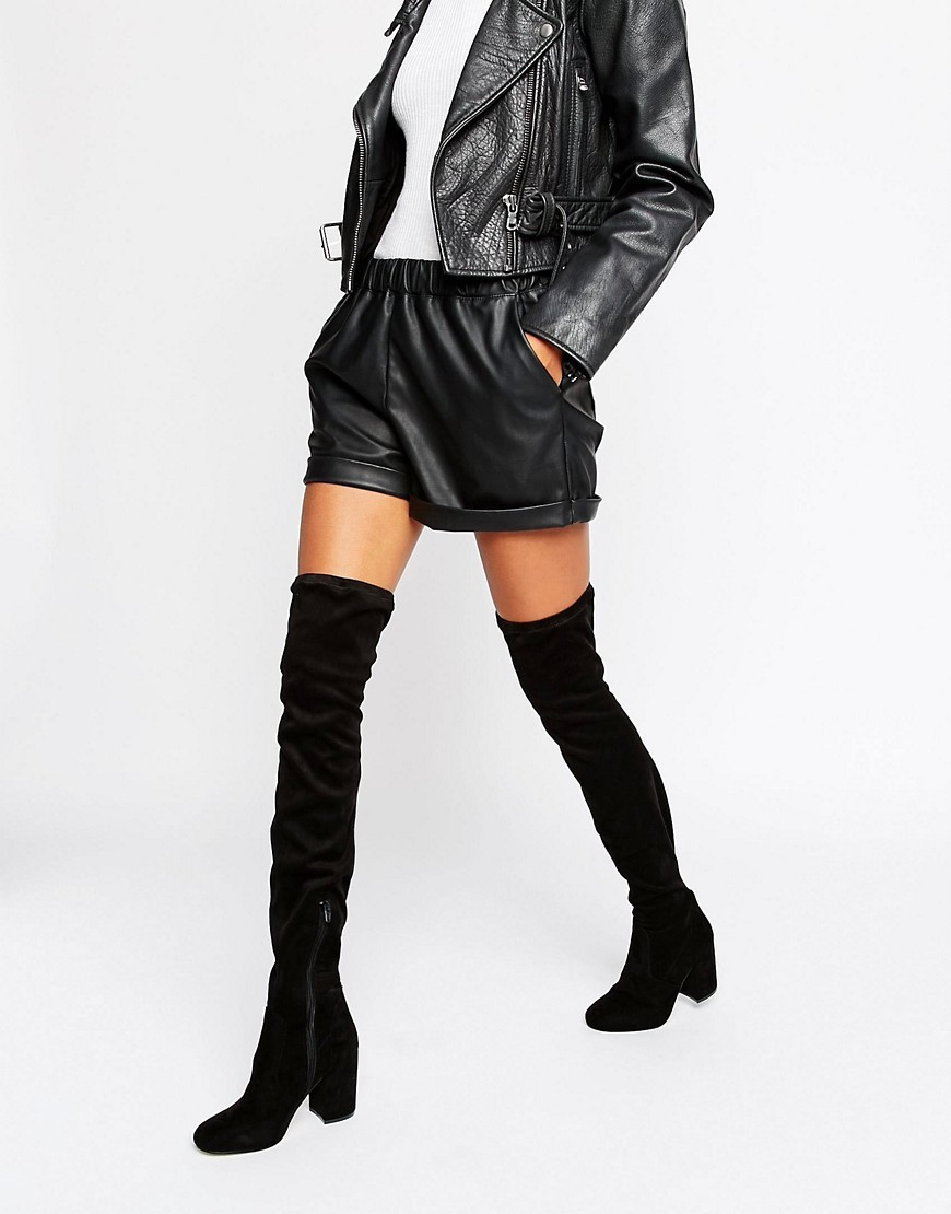 Katch Up Stretch Over The Knee Heeled Boots Black - predominant colour: black; occasions: casual, creative work; material: suede; heel height: mid; heel: block; toe: round toe; boot length: over the knee; style: standard; finish: plain; pattern: plain; season: s/s 2016; wardrobe: investment