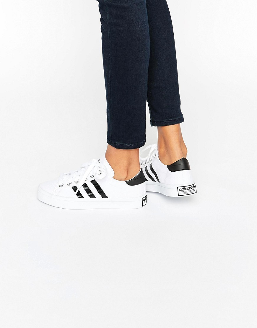 Originals White And Black Court Vantage Trainers White - predominant colour: white; occasions: casual; material: faux leather; heel height: flat; toe: round toe; style: trainers; finish: plain; pattern: plain; season: s/s 2016