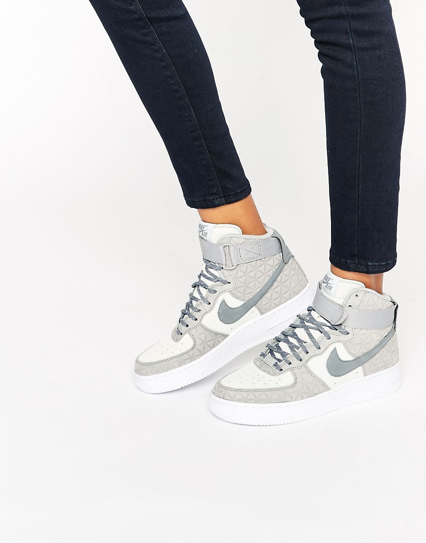 Air Force 1 Hi Trainers In Grey Suede Matte Silver/Cl Grey - predominant colour: silver; occasions: casual; material: suede; heel height: flat; toe: round toe; style: trainers; finish: plain; pattern: plain; season: s/s 2016; wardrobe: basic