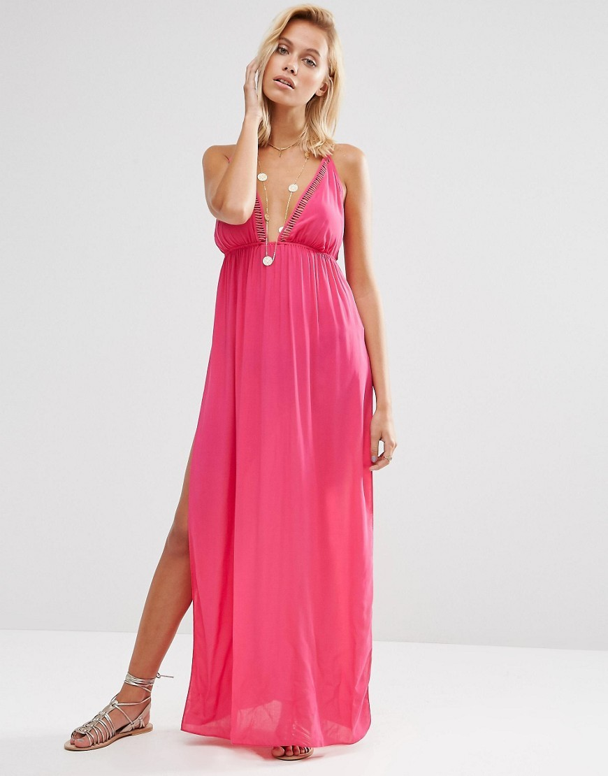 Lattice V Neck Maxi Beach Dress Pink - neckline: low v-neck; pattern: plain; sleeve style: sleeveless; style: maxi dress; predominant colour: hot pink; occasions: evening; length: floor length; fit: body skimming; fibres: viscose/rayon - 100%; sleeve length: sleeveless; pattern type: fabric; texture group: jersey - stretchy/drapey; season: s/s 2016; wardrobe: event