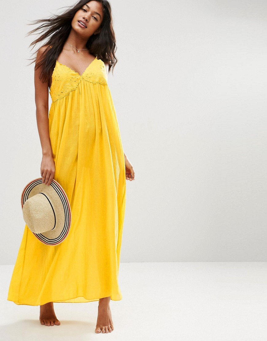 Lace Cup Babydoll Maxi Beach Dress Mustard - neckline: v-neck; sleeve style: spaghetti straps; pattern: plain; style: maxi dress; length: ankle length; predominant colour: yellow; occasions: casual, holiday; fit: body skimming; fibres: cotton - 100%; sleeve length: sleeveless; pattern type: fabric; texture group: jersey - stretchy/drapey; embellishment: lace; season: s/s 2016; wardrobe: highlight