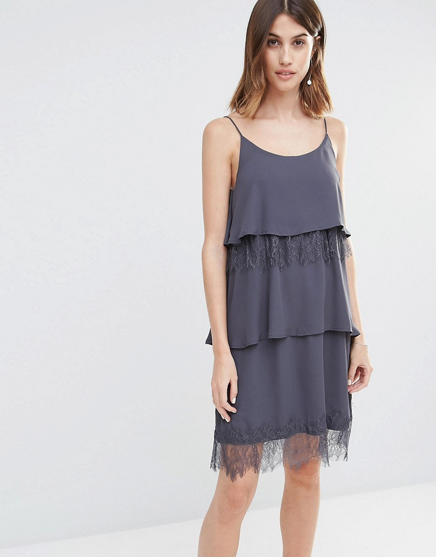 Tiered Lace Cami Dress Ebony - sleeve style: spaghetti straps; pattern: plain; bust detail: ruching/gathering/draping/layers/pintuck pleats at bust; predominant colour: mid grey; occasions: evening; length: just above the knee; fit: body skimming; style: slip dress; neckline: scoop; fibres: polyester/polyamide - 100%; sleeve length: sleeveless; pattern type: fabric; texture group: other - light to midweight; embellishment: lace; season: s/s 2016