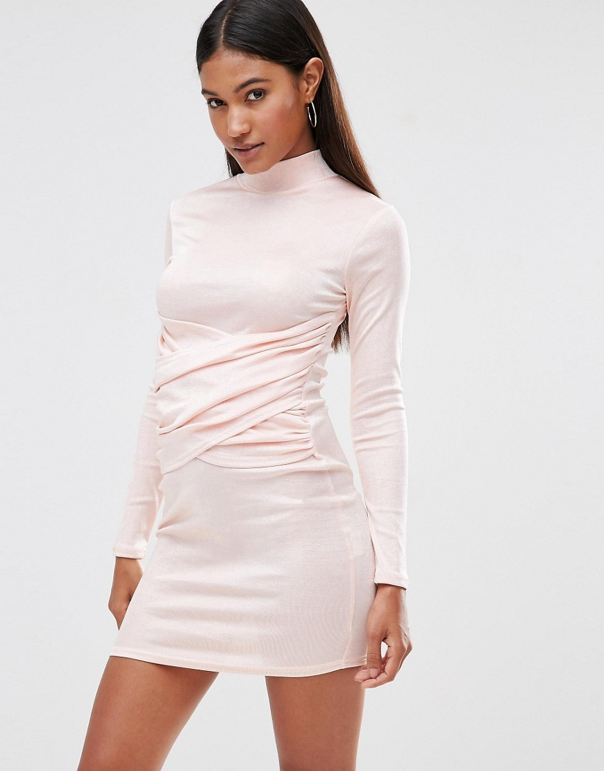 High Neck Bodycon Dress With Wrap Front Detail Blush - length: mini; fit: tight; pattern: plain; neckline: high neck; style: bodycon; predominant colour: blush; occasions: evening; fibres: polyester/polyamide - stretch; sleeve length: long sleeve; sleeve style: standard; texture group: jersey - clingy; pattern type: fabric; season: s/s 2016; wardrobe: event