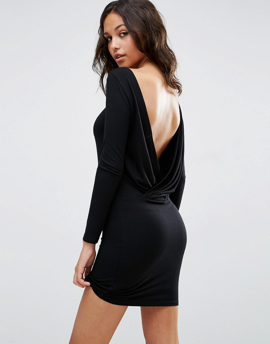 Long Sleeve Wrap Back Mini Dress Black - length: mini; fit: tight; pattern: plain; style: bodycon; back detail: cowl/draping/scoop at back; predominant colour: black; occasions: evening; fibres: viscose/rayon - stretch; neckline: crew; sleeve length: long sleeve; sleeve style: standard; texture group: jersey - clingy; pattern type: fabric; season: s/s 2016; wardrobe: event