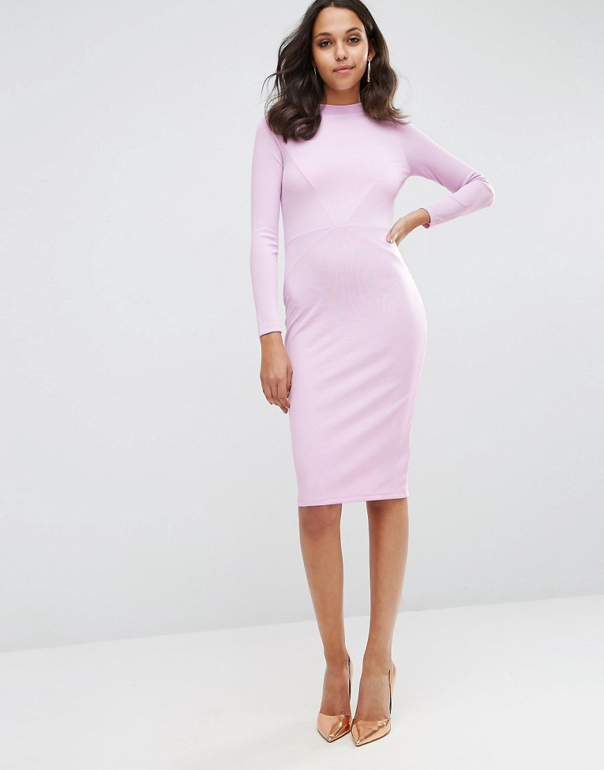 Bodycon Dress With Sexy Seam Detail In Rib Pink - fit: tight; pattern: plain; style: bodycon; predominant colour: blush; occasions: evening; length: on the knee; fibres: polyester/polyamide - 100%; neckline: crew; sleeve length: long sleeve; sleeve style: standard; texture group: jersey - clingy; pattern type: fabric; season: s/s 2016