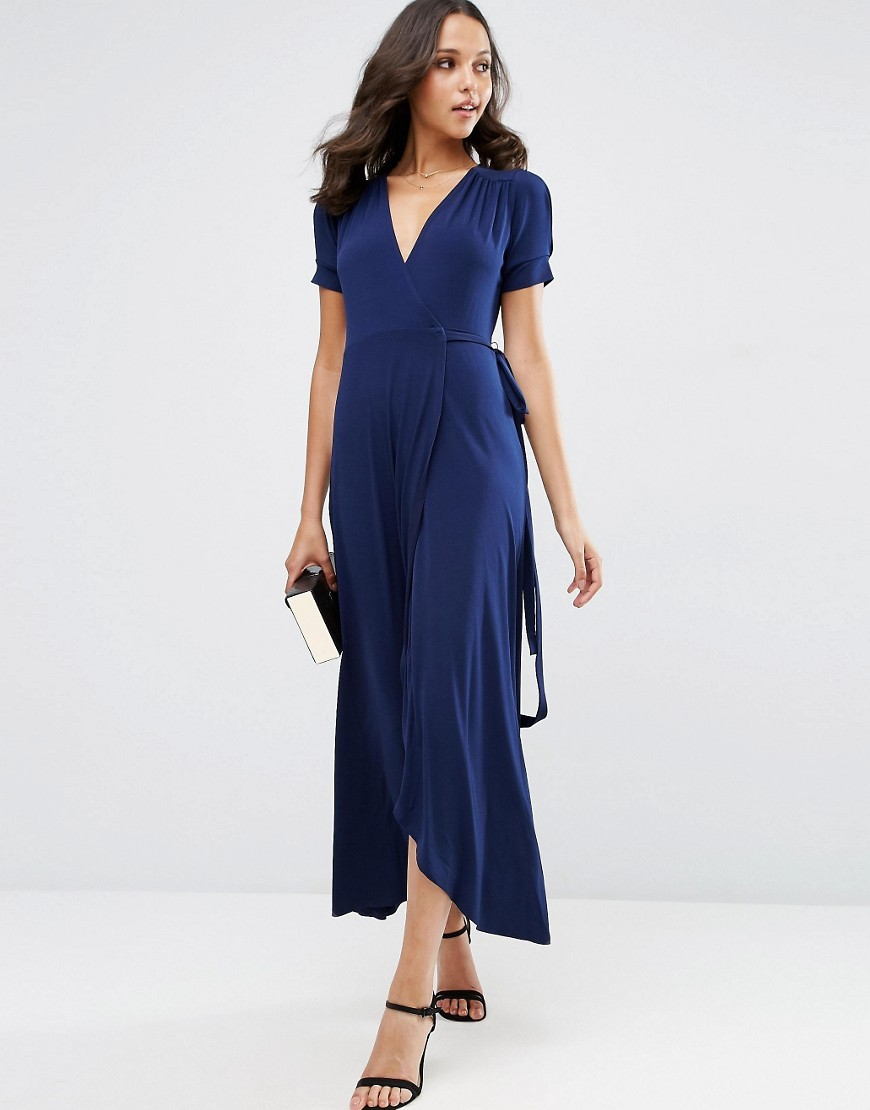 Crepe Wrap Maxi Dress With Cap Sleeves Navy - style: faux wrap/wrap; length: calf length; neckline: v-neck; pattern: plain; waist detail: belted waist/tie at waist/drawstring; predominant colour: navy; occasions: evening; fit: body skimming; fibres: polyester/polyamide - stretch; sleeve length: short sleeve; sleeve style: standard; pattern type: fabric; texture group: jersey - stretchy/drapey; season: s/s 2016; wardrobe: event