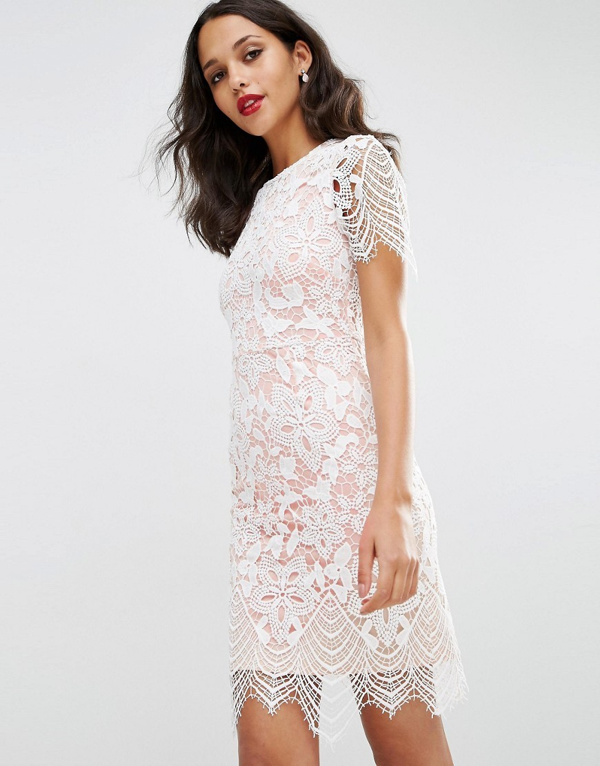 Bodycon Pencil Dress In Border Lace White - style: shift; predominant colour: white; occasions: evening; length: just above the knee; fit: body skimming; fibres: polyester/polyamide - mix; neckline: crew; sleeve length: short sleeve; sleeve style: standard; texture group: lace; pattern type: fabric; pattern: patterned/print; season: s/s 2016; wardrobe: event