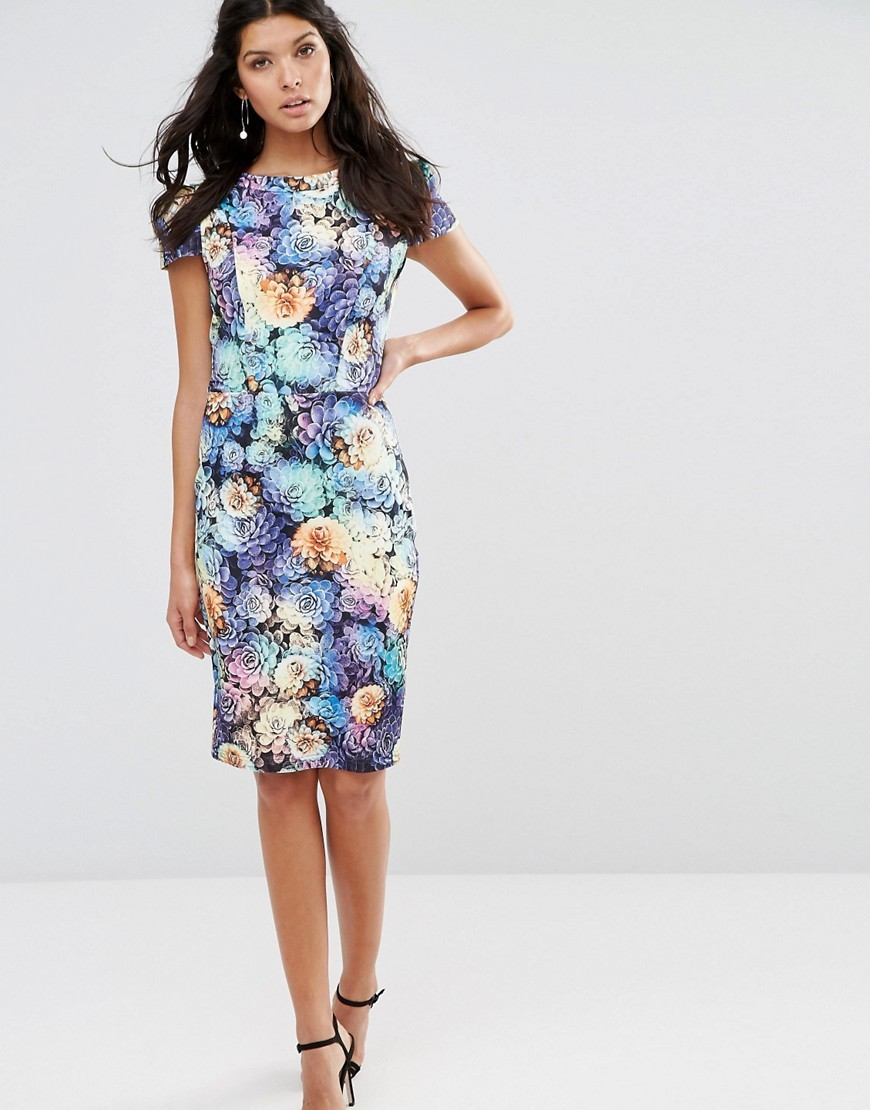 Floral Pencil Dress With Capped Sleeves Print - style: shift; sleeve style: capped; fit: tailored/fitted; predominant colour: pale blue; secondary colour: primrose yellow; occasions: evening; length: on the knee; fibres: polyester/polyamide - stretch; neckline: crew; sleeve length: short sleeve; pattern type: fabric; pattern size: big & busy; pattern: florals; texture group: jersey - stretchy/drapey; multicoloured: multicoloured; season: s/s 2016; wardrobe: event