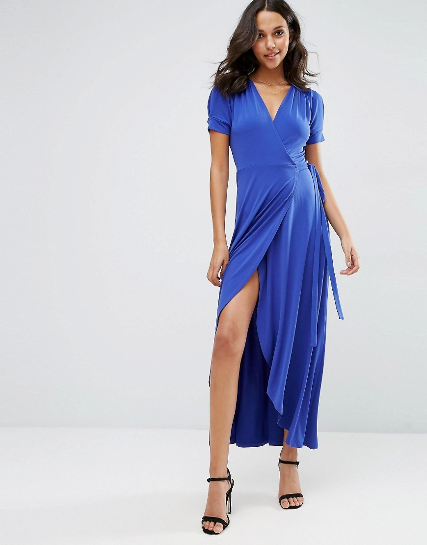 Crepe Wrap Maxi Dress With Cap Sleeves Cobalt Blue - style: faux wrap/wrap; neckline: v-neck; fit: tailored/fitted; pattern: plain; length: ankle length; hip detail: draws attention to hips; waist detail: belted waist/tie at waist/drawstring; predominant colour: royal blue; fibres: polyester/polyamide - stretch; occasions: occasion; sleeve length: short sleeve; sleeve style: standard; texture group: crepes; pattern type: fabric; season: s/s 2016; wardrobe: event