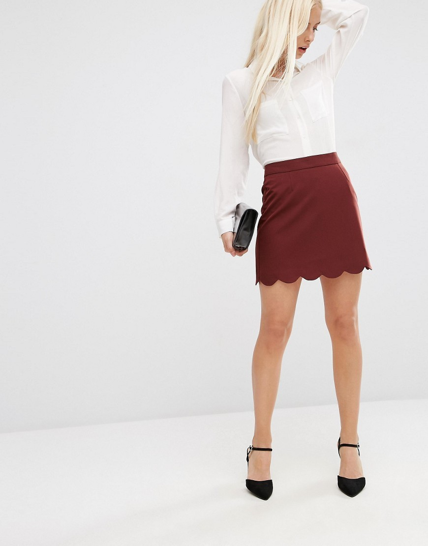 A Line Mini Skirt With Scallop Hem Port - length: mini; pattern: plain; fit: tailored/fitted; waist: high rise; predominant colour: burgundy; occasions: casual, creative work; style: mini skirt; fibres: polyester/polyamide - mix; pattern type: fabric; texture group: other - light to midweight; season: s/s 2016