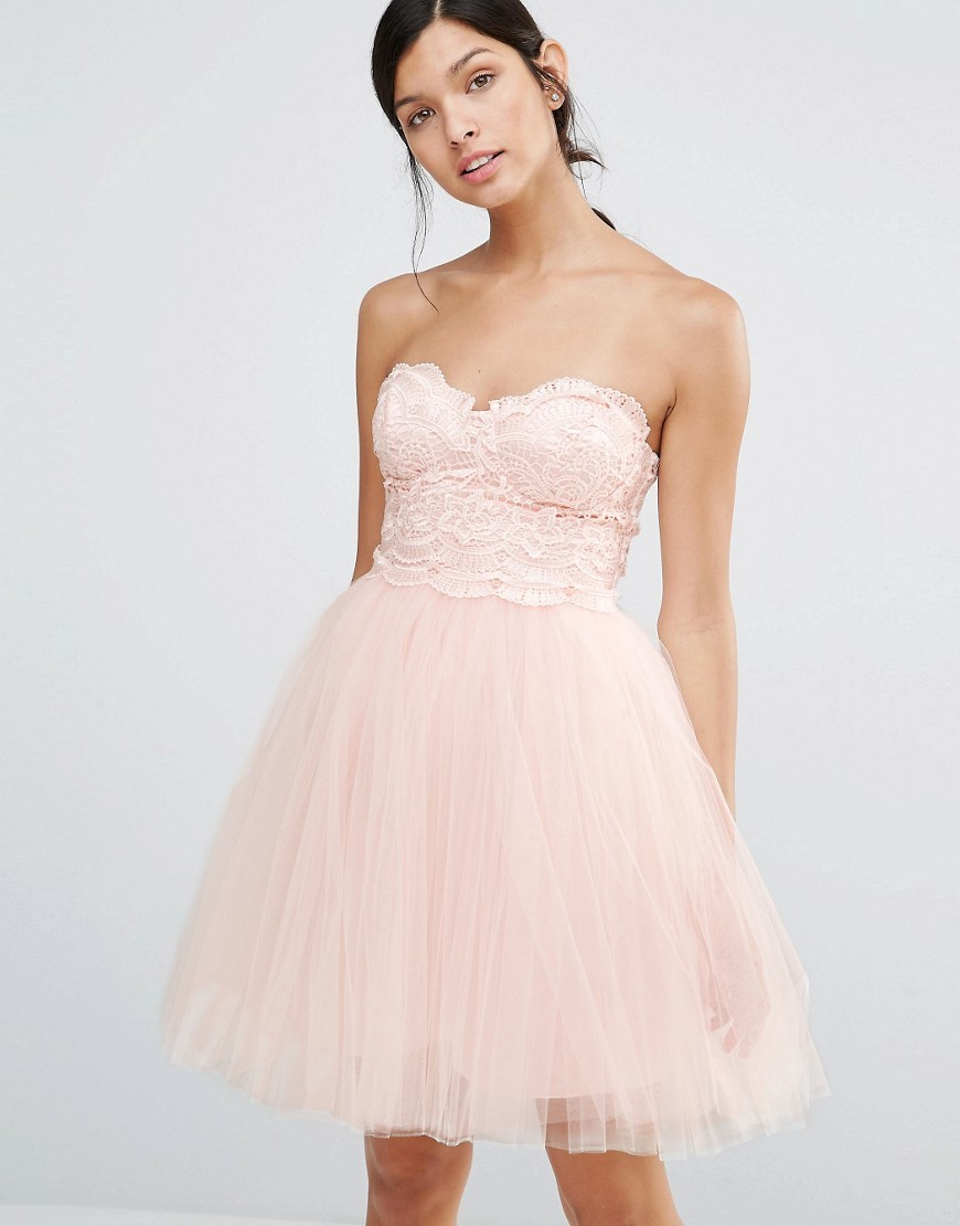 Prom Dress With Lace Body Nude - neckline: strapless (straight/sweetheart); pattern: plain; style: prom dress; sleeve style: strapless; predominant colour: blush; occasions: evening; length: just above the knee; fit: fitted at waist & bust; fibres: polyester/polyamide - 100%; sleeve length: sleeveless; pattern type: fabric; texture group: net/tulle; embellishment: lace; season: s/s 2016; wardrobe: event