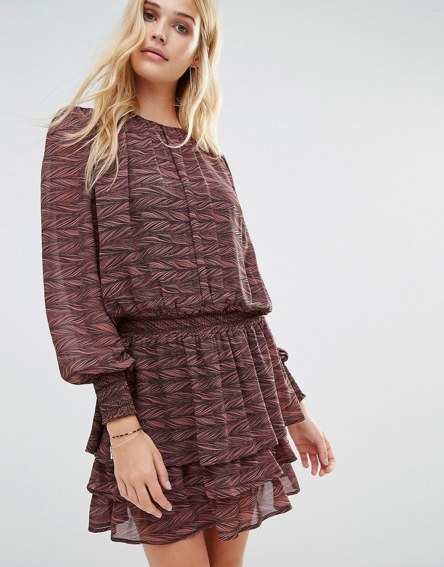 Rush Tiered Skirt Long Sleeve Ruffle Dress Multi - pattern: plain; style: drop waist; predominant colour: aubergine; occasions: evening; length: just above the knee; fit: body skimming; fibres: polyester/polyamide - 100%; neckline: crew; sleeve length: long sleeve; sleeve style: standard; texture group: sheer fabrics/chiffon/organza etc.; hip detail: ruffles/tiers/tie detail at hip; pattern type: fabric; season: s/s 2016; wardrobe: event