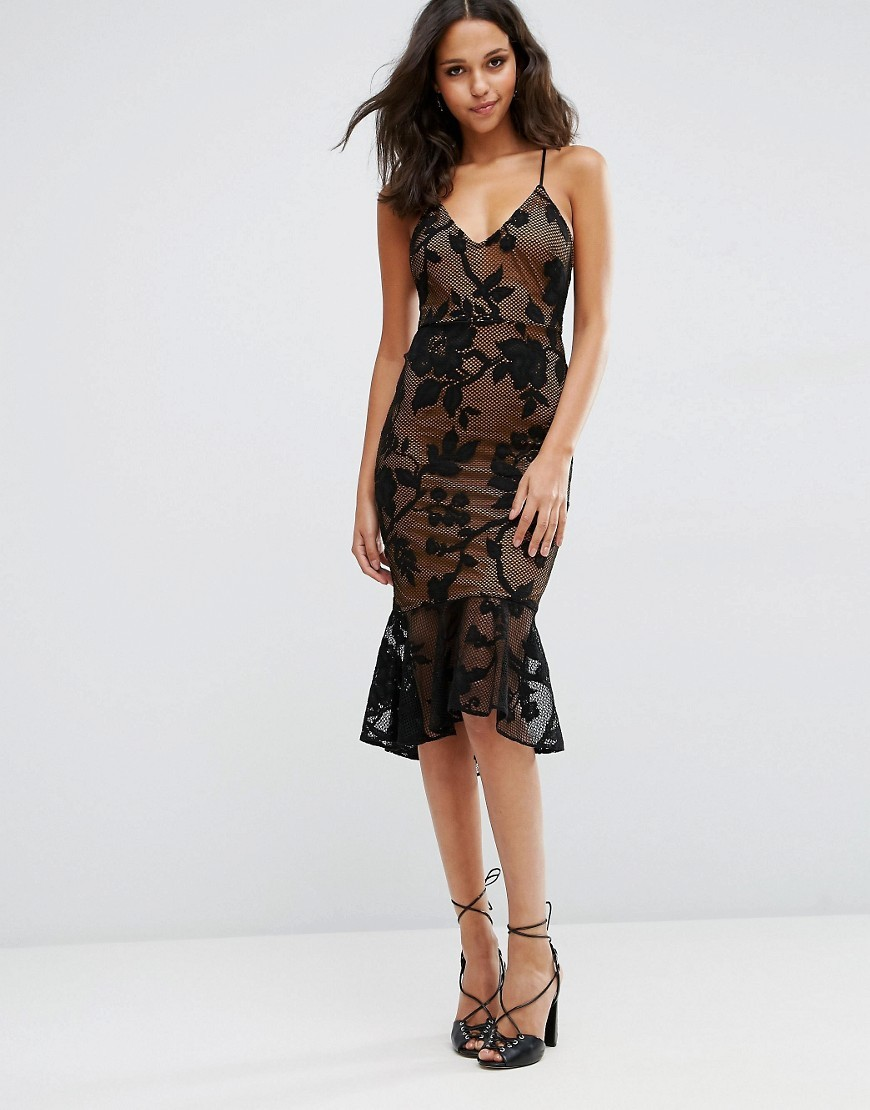 Lace Pephem Midi Dress Black - length: below the knee; neckline: low v-neck; sleeve style: spaghetti straps; fit: tight; style: bodycon; predominant colour: black; occasions: evening; fibres: polyester/polyamide - mix; sleeve length: sleeveless; texture group: lace; pattern type: fabric; pattern size: standard; pattern: patterned/print; season: s/s 2016; wardrobe: event