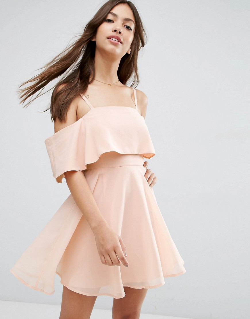 Cold Shoulder Mini Dress Nude - length: mid thigh; pattern: plain; bust detail: ruching/gathering/draping/layers/pintuck pleats at bust; predominant colour: blush; occasions: evening; fit: fitted at waist & bust; style: fit & flare; fibres: polyester/polyamide - 100%; shoulder detail: cut out shoulder; sleeve length: short sleeve; sleeve style: standard; texture group: sheer fabrics/chiffon/organza etc.; neckline: medium square neck; pattern type: fabric; season: s/s 2016; wardrobe: event