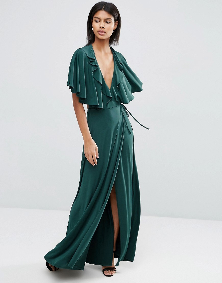 Cape Open Back Plunge Maxi Dress Bottle Green - neckline: low v-neck; sleeve style: angel/waterfall; pattern: plain; style: maxi dress; waist detail: belted waist/tie at waist/drawstring; predominant colour: emerald green; occasions: evening; length: floor length; fit: body skimming; fibres: polyester/polyamide - stretch; sleeve length: half sleeve; pattern type: fabric; texture group: jersey - stretchy/drapey; season: s/s 2016; wardrobe: event