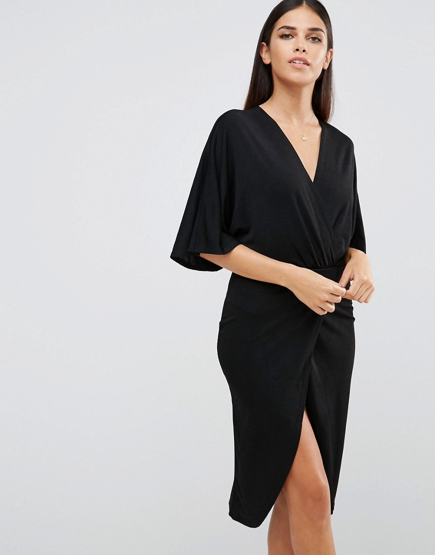 Wrap Front Crepe Kimono Detail Dress Black - style: faux wrap/wrap; neckline: v-neck; pattern: plain; sleeve style: kimono; waist detail: belted waist/tie at waist/drawstring; predominant colour: black; occasions: evening; length: on the knee; fit: body skimming; fibres: polyester/polyamide - stretch; sleeve length: half sleeve; pattern type: fabric; texture group: jersey - stretchy/drapey; season: s/s 2016