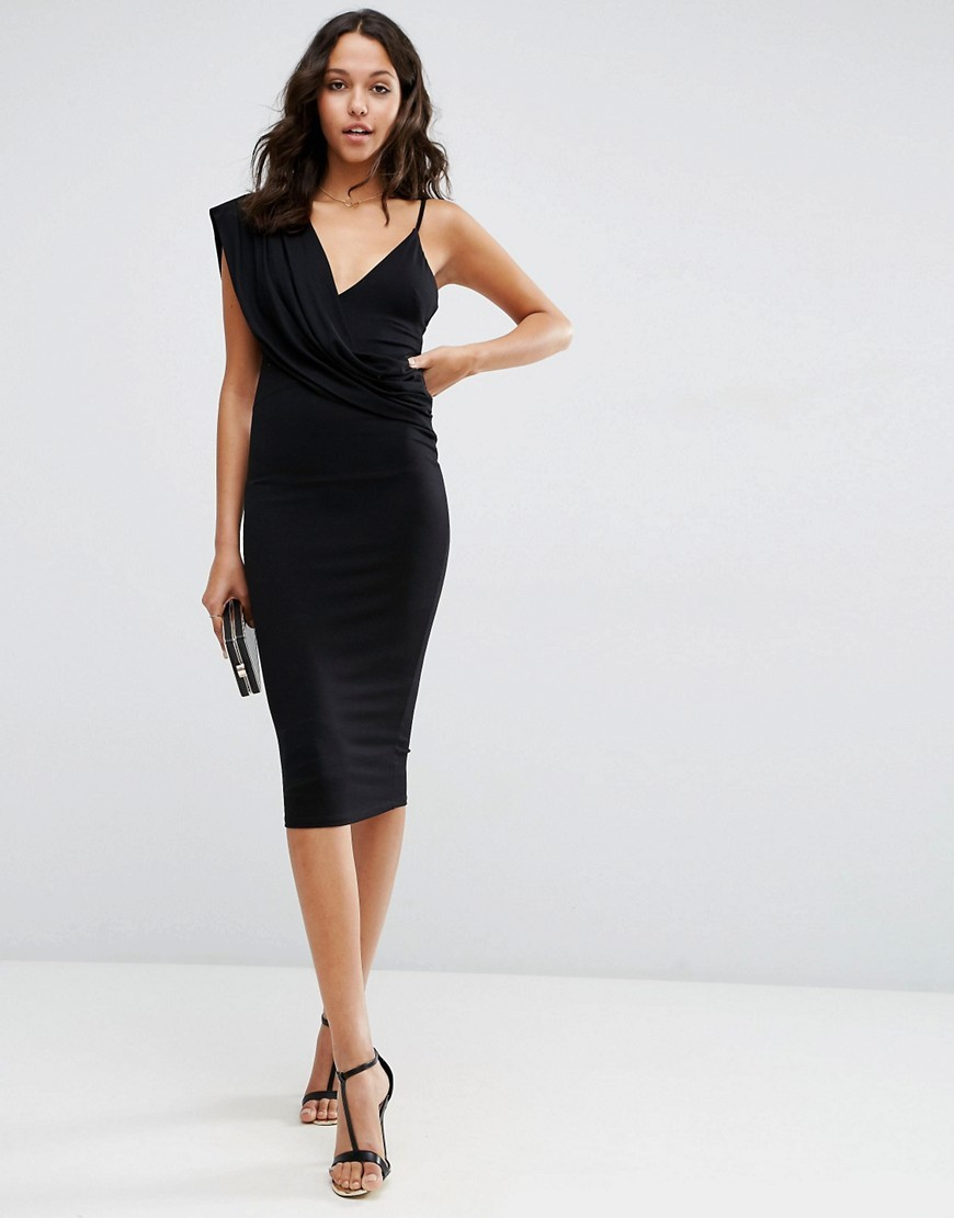 One Shoulder Cami Cowl Front Midi Bodycon Dress Black - length: below the knee; neckline: v-neck; fit: tight; pattern: plain; sleeve style: sleeveless; style: bodycon; predominant colour: black; occasions: evening; fibres: viscose/rayon - stretch; sleeve length: sleeveless; texture group: jersey - clingy; pattern type: fabric; season: s/s 2016; wardrobe: event