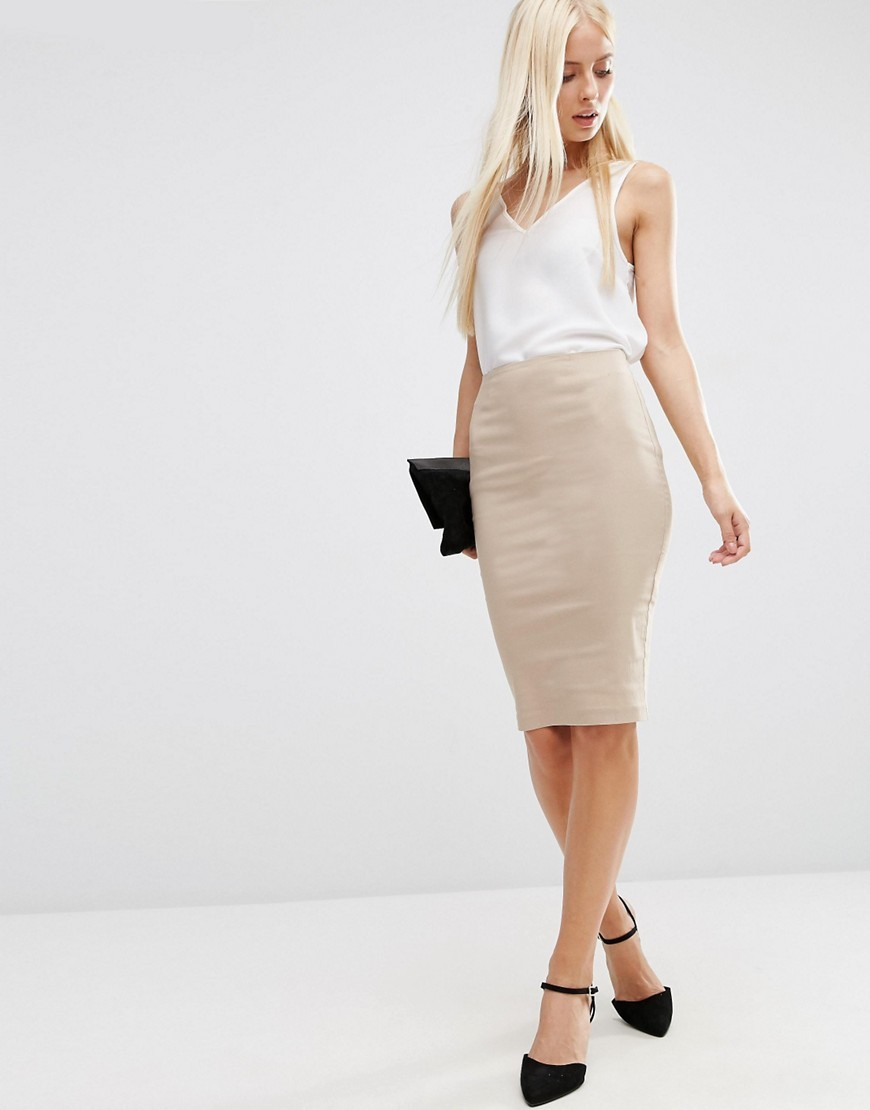 High Waisted Pencil Skirt Neutral - pattern: plain; style: pencil; fit: tailored/fitted; waist: high rise; predominant colour: nude; occasions: evening, work; length: on the knee; texture group: jersey - clingy; pattern type: fabric; fibres: viscose/rayon - mix; season: s/s 2016; wardrobe: basic