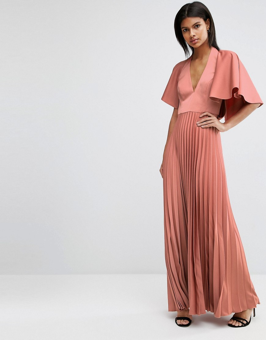 Pleated Ruffle Cape Tiered Maxi Dress Mink - neckline: low v-neck; pattern: plain; style: maxi dress; occasions: evening; length: floor length; fit: body skimming; fibres: polyester/polyamide - 100%; hip detail: soft pleats at hip/draping at hip/flared at hip; sleeve length: half sleeve; sleeve style: standard; pattern type: fabric; texture group: other - light to midweight; predominant colour: dusky pink; season: s/s 2016; wardrobe: event