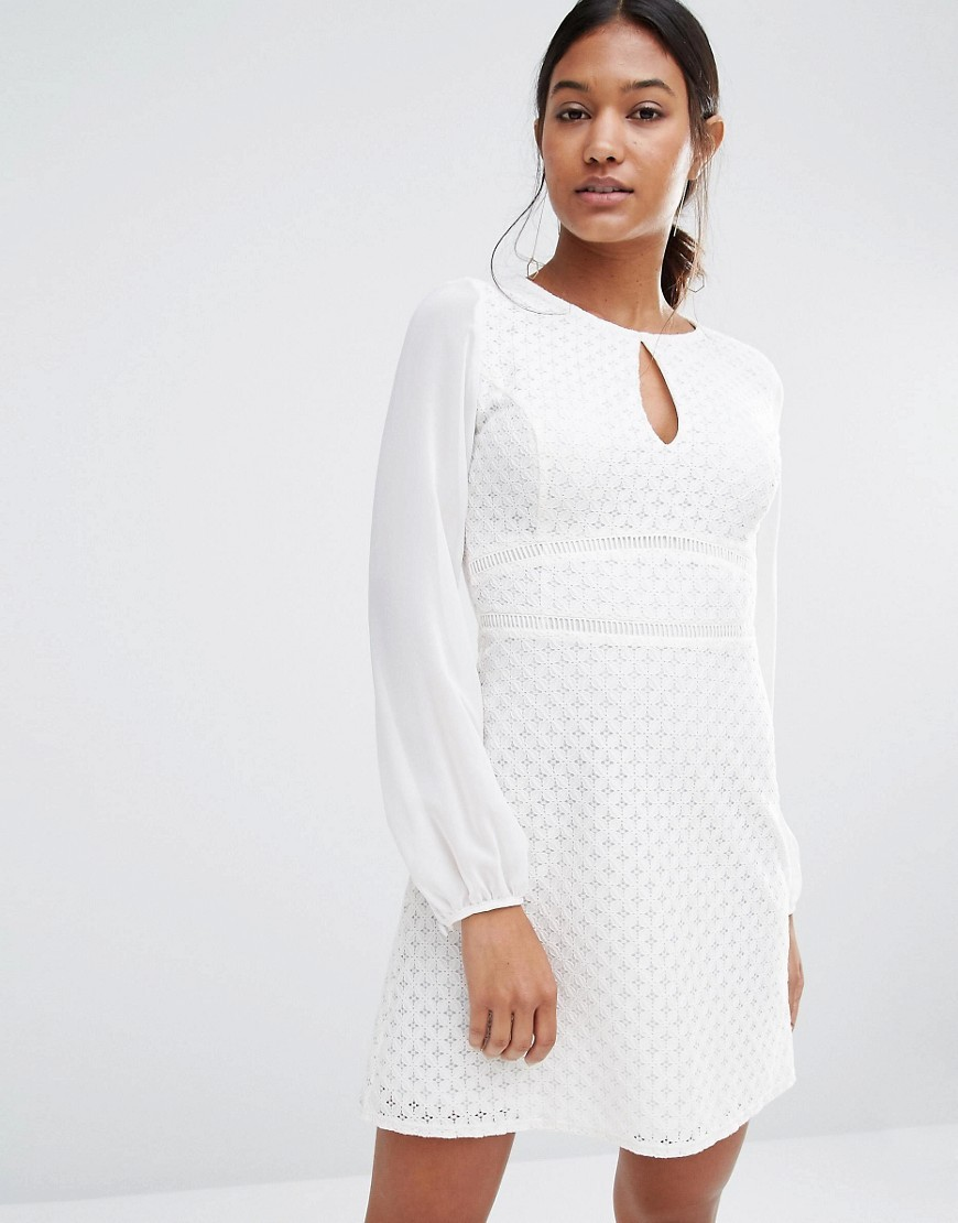Long Sleeve Keyhole Mesh Dress White - length: mid thigh; pattern: plain; predominant colour: white; occasions: evening; fit: fitted at waist & bust; style: fit & flare; neckline: peep hole neckline; fibres: cotton - mix; sleeve length: long sleeve; sleeve style: standard; pattern type: fabric; texture group: woven light midweight; season: s/s 2016; wardrobe: event