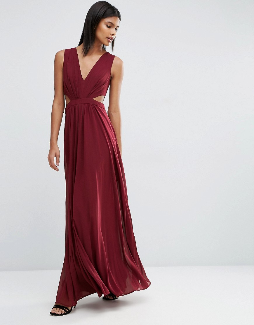 Side Cut Out Maxi Dress Oxblood - neckline: v-neck; pattern: plain; sleeve style: sleeveless; style: maxi dress; predominant colour: burgundy; occasions: evening; length: floor length; fit: body skimming; fibres: polyester/polyamide - 100%; waist detail: cut out detail; sleeve length: sleeveless; pattern type: fabric; texture group: jersey - stretchy/drapey; season: s/s 2016; wardrobe: event