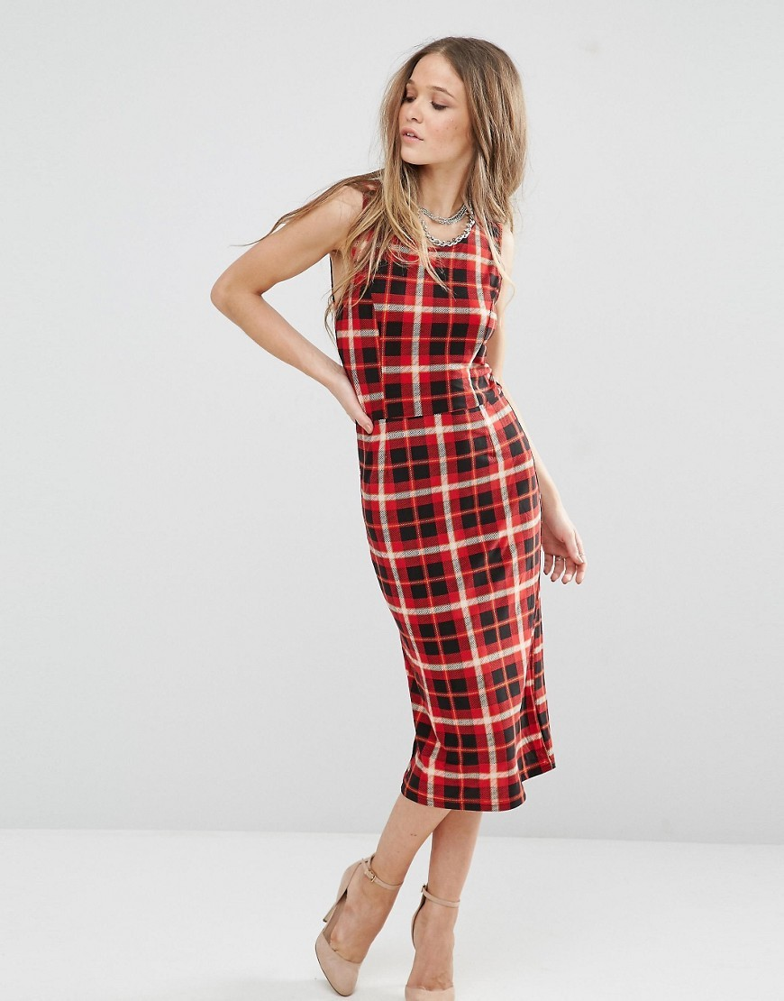 Overlay Midi Dress In Check Red - style: shift; length: below the knee; sleeve style: sleeveless; pattern: checked/gingham; predominant colour: true red; secondary colour: black; occasions: evening; fit: body skimming; fibres: polyester/polyamide - 100%; neckline: crew; sleeve length: sleeveless; pattern type: fabric; pattern size: big & busy; texture group: other - light to midweight; multicoloured: multicoloured; season: s/s 2016; wardrobe: event
