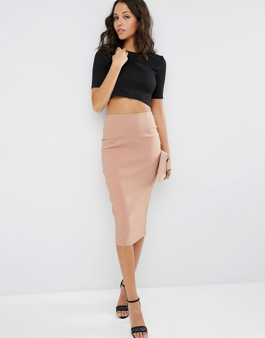 High Waist Longerline Pencil Skirt Camel - length: below the knee; pattern: plain; style: pencil; fit: tailored/fitted; waist: high rise; predominant colour: blush; occasions: evening, occasion; fibres: polyester/polyamide - 100%; pattern type: fabric; texture group: other - clingy; season: s/s 2016; wardrobe: event