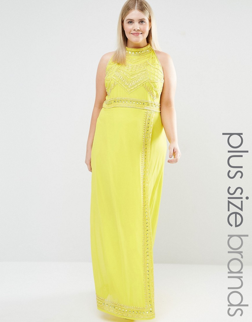 High Neck Embellished Detail Maxi Dress Yellow - pattern: plain; sleeve style: sleeveless; style: maxi dress; neckline: high neck; predominant colour: yellow; occasions: evening; length: floor length; fit: body skimming; fibres: polyester/polyamide - 100%; sleeve length: sleeveless; pattern type: fabric; texture group: other - light to midweight; embellishment: beading; season: s/s 2016