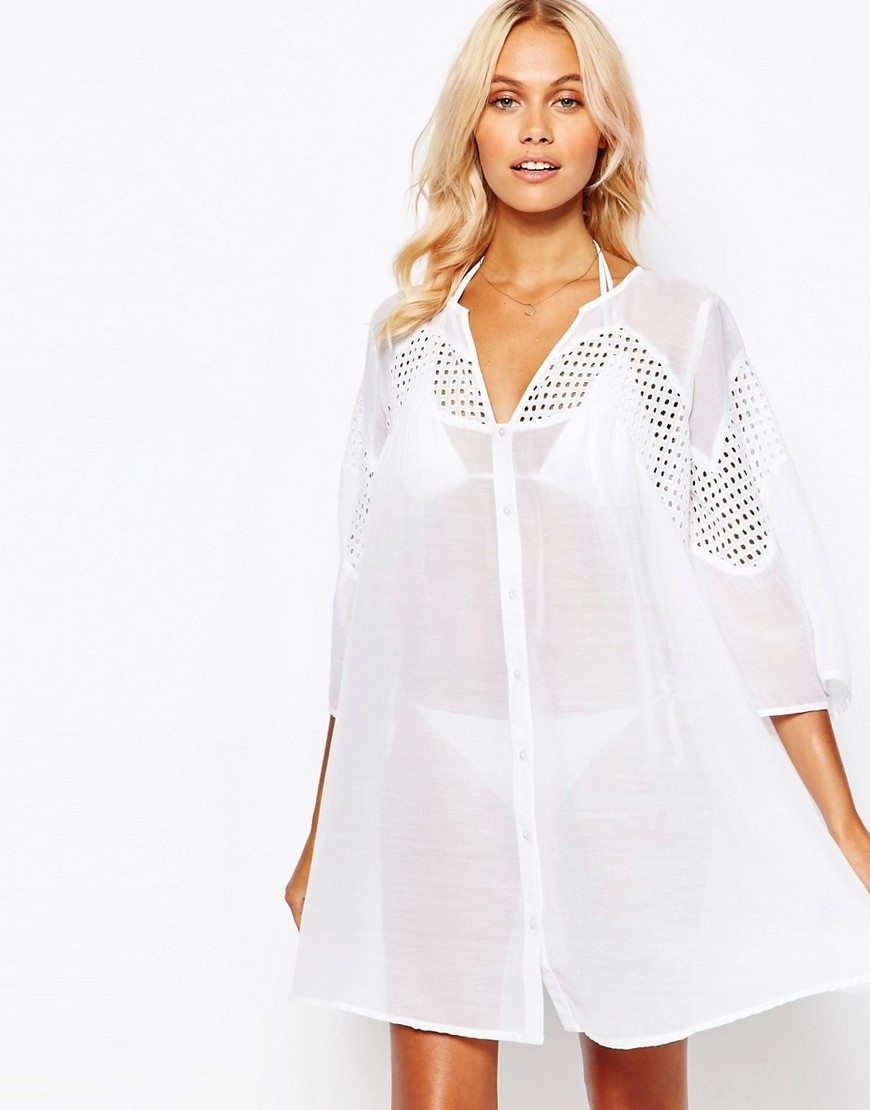 V Neck Corded Lace Button Front Smock Beach Dress White - style: smock; neckline: v-neck; fit: loose; pattern: plain; predominant colour: white; length: just above the knee; fibres: polyester/polyamide - 100%; sleeve length: 3/4 length; sleeve style: standard; texture group: sheer fabrics/chiffon/organza etc.; occasions: holiday; pattern type: fabric; season: s/s 2016; wardrobe: holiday