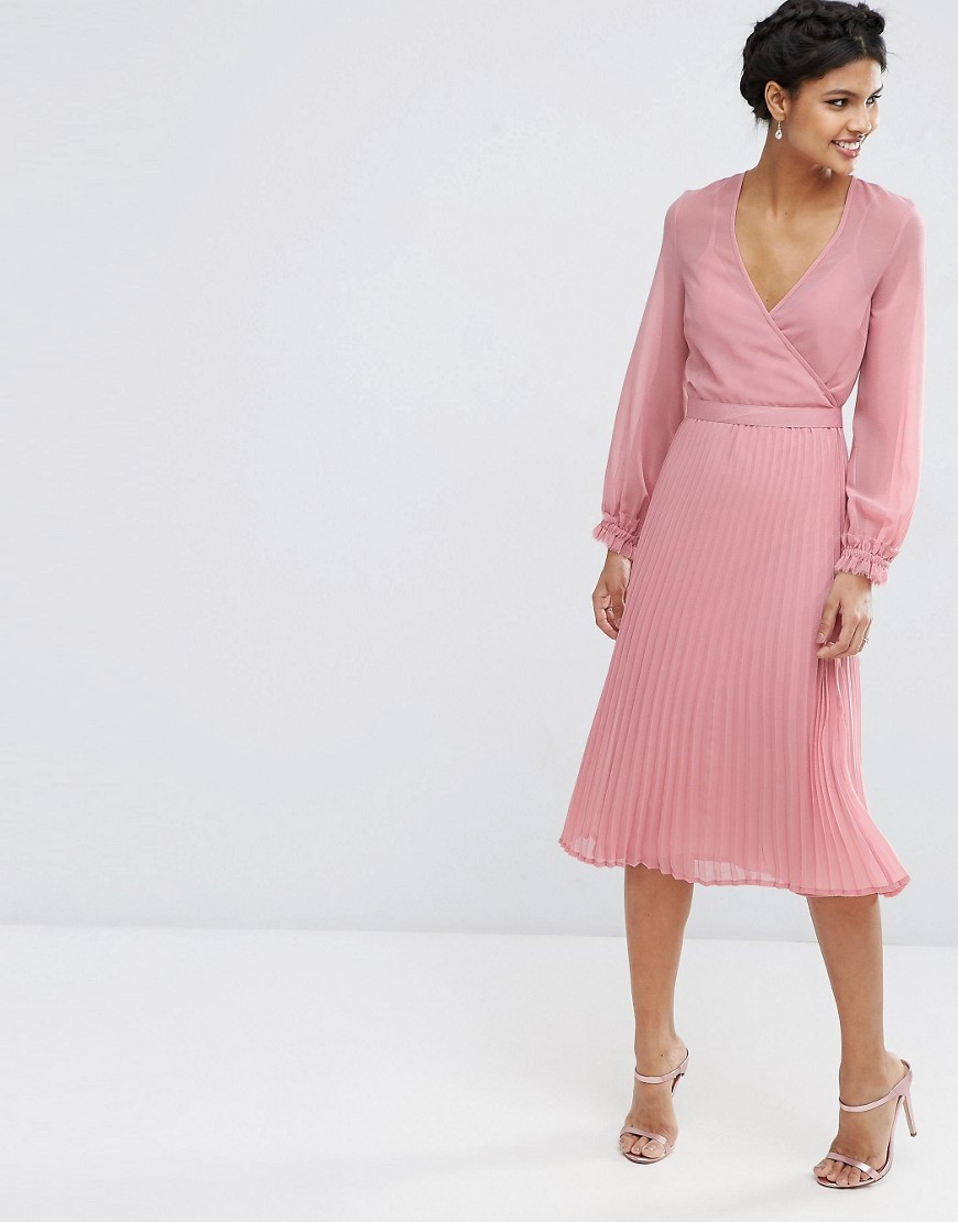 Occasion Pleat Wrap Dress Pink - style: faux wrap/wrap; length: below the knee; neckline: v-neck; pattern: plain; predominant colour: pink; occasions: evening; fit: body skimming; fibres: polyester/polyamide - 100%; sleeve length: long sleeve; sleeve style: standard; pattern type: fabric; texture group: other - light to midweight; season: s/s 2016; wardrobe: event