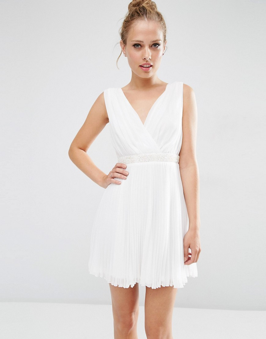 Pleated Mini Skater Dress With Embellished Waist White - length: mid thigh; neckline: v-neck; pattern: plain; sleeve style: sleeveless; predominant colour: white; occasions: evening; fit: fitted at waist & bust; style: fit & flare; fibres: polyester/polyamide - 100%; sleeve length: sleeveless; pattern type: fabric; texture group: other - light to midweight; season: s/s 2016; wardrobe: event