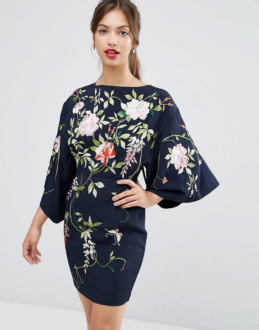 Embroidered Kimono Sleeve Mini Dress Navy - style: shift; sleeve style: kimono; secondary colour: ivory/cream; predominant colour: navy; occasions: evening; length: just above the knee; fit: body skimming; fibres: viscose/rayon - 100%; neckline: crew; sleeve length: 3/4 length; pattern type: fabric; pattern: florals; texture group: jersey - stretchy/drapey; multicoloured: multicoloured; season: s/s 2016; wardrobe: event