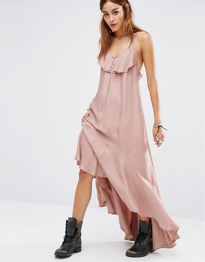 Ruffle Maxi Cami Dress Gull Grey - neckline: low v-neck; sleeve style: spaghetti straps; fit: loose; pattern: plain; style: maxi dress; bust detail: ruching/gathering/draping/layers/pintuck pleats at bust; predominant colour: blush; occasions: casual; length: floor length; fibres: cotton - 100%; sleeve length: sleeveless; texture group: sheer fabrics/chiffon/organza etc.; pattern type: fabric; season: s/s 2016