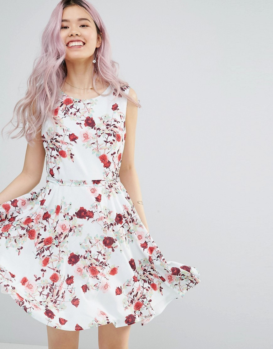 Belted Skater Dress In Romantic Floral Print White - sleeve style: sleeveless; predominant colour: white; secondary colour: true red; occasions: casual; length: just above the knee; fit: fitted at waist & bust; style: fit & flare; fibres: polyester/polyamide - 100%; neckline: crew; sleeve length: sleeveless; pattern type: fabric; pattern: florals; texture group: other - light to midweight; multicoloured: multicoloured; season: s/s 2016