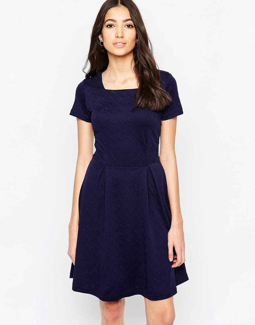 Carissa Fit And Flare Ponte Dress Navy - pattern: plain; predominant colour: navy; occasions: evening, work, creative work; length: just above the knee; fit: fitted at waist & bust; style: fit & flare; fibres: polyester/polyamide - stretch; sleeve length: short sleeve; sleeve style: standard; neckline: medium square neck; pattern type: fabric; texture group: jersey - stretchy/drapey; season: s/s 2016; wardrobe: investment