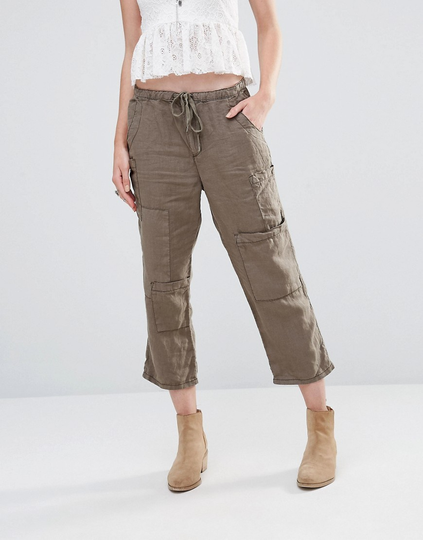 Utility Cropped Trousers Army - pattern: plain; waist detail: belted waist/tie at waist/drawstring; waist: mid/regular rise; predominant colour: khaki; occasions: casual, creative work; length: ankle length; fibres: linen - 100%; texture group: linen; fit: straight leg; pattern type: fabric; style: standard; season: s/s 2016