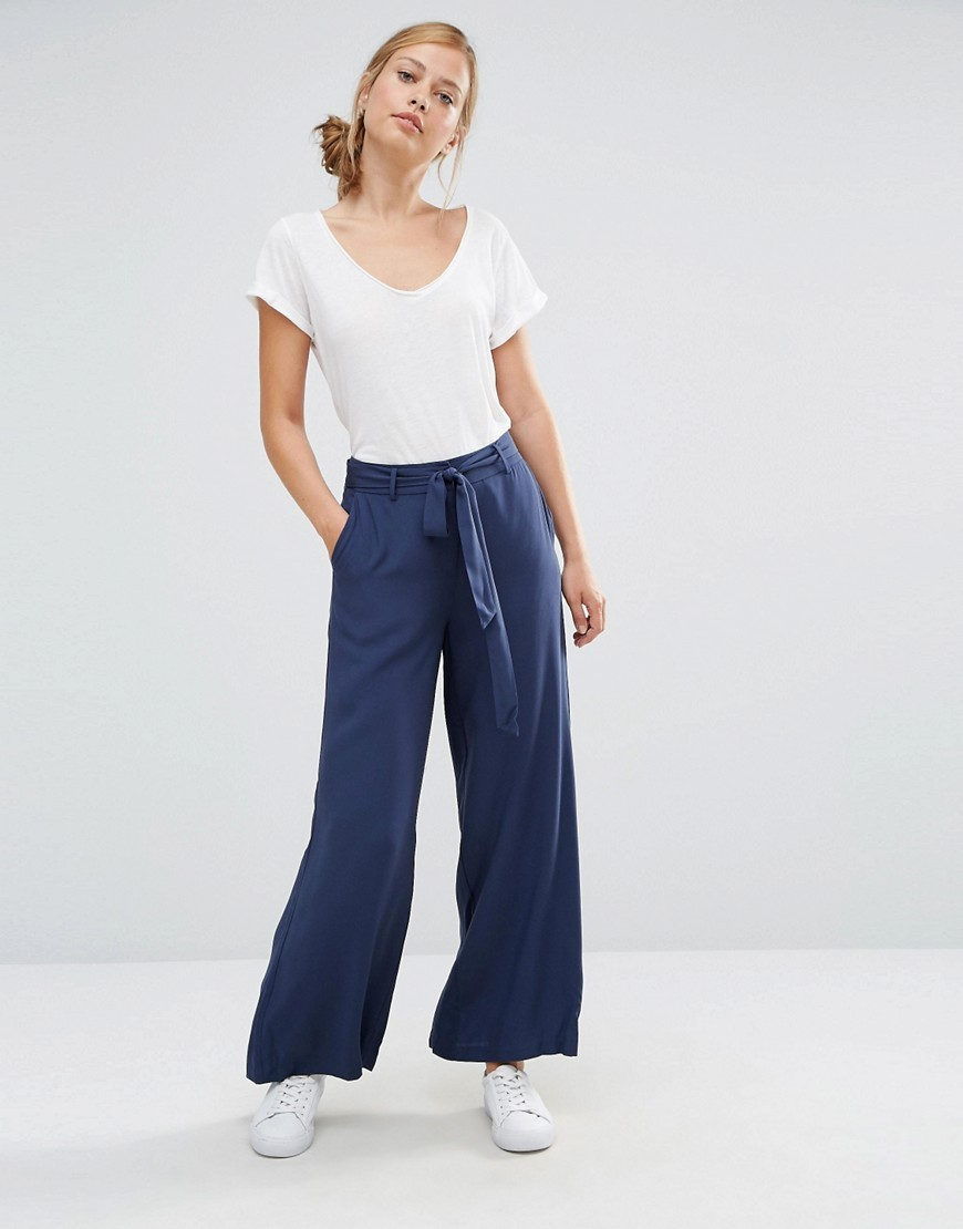 Tie Waist Wide Leg Trouser Navy - length: standard; pattern: plain; waist detail: belted waist/tie at waist/drawstring; waist: mid/regular rise; predominant colour: navy; occasions: casual; fibres: viscose/rayon - 100%; fit: wide leg; pattern type: fabric; texture group: other - light to midweight; style: standard; season: s/s 2016; wardrobe: basic