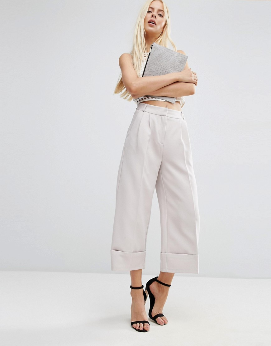 High Waist Culottes With Deep Turn Up Silver - pattern: plain; style: palazzo; waist: high rise; waist detail: belted waist/tie at waist/drawstring; predominant colour: silver; occasions: casual; length: ankle length; fibres: polyester/polyamide - stretch; fit: wide leg; pattern type: fabric; texture group: woven light midweight; season: s/s 2016; wardrobe: highlight