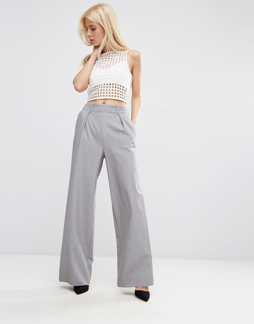 Wide Leg Trousers With Pleat Detail Grey - length: standard; pattern: plain; waist: high rise; predominant colour: light grey; occasions: work; fibres: polyester/polyamide - stretch; hip detail: subtle/flattering hip detail; fit: wide leg; pattern type: fabric; texture group: woven light midweight; style: standard; season: s/s 2016; wardrobe: basic