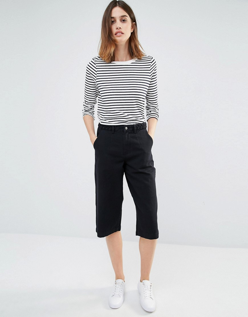 Plait Detail Denim Culottes Black - pattern: plain; waist: mid/regular rise; predominant colour: navy; occasions: casual, creative work; length: calf length; fibres: cotton - 100%; texture group: denim; fit: slim leg; pattern type: fabric; style: standard; season: s/s 2016; wardrobe: basic
