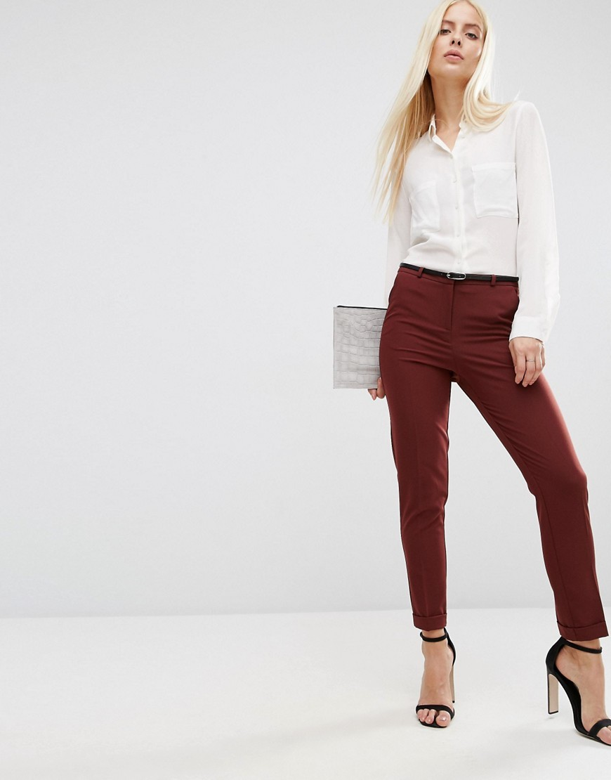 Cigarette Trousers With Belt Port - pattern: plain; waist: mid/regular rise; predominant colour: burgundy; occasions: casual, work; length: ankle length; fibres: polyester/polyamide - stretch; fit: skinny/tight leg; pattern type: fabric; texture group: woven light midweight; style: standard; season: s/s 2016; wardrobe: highlight