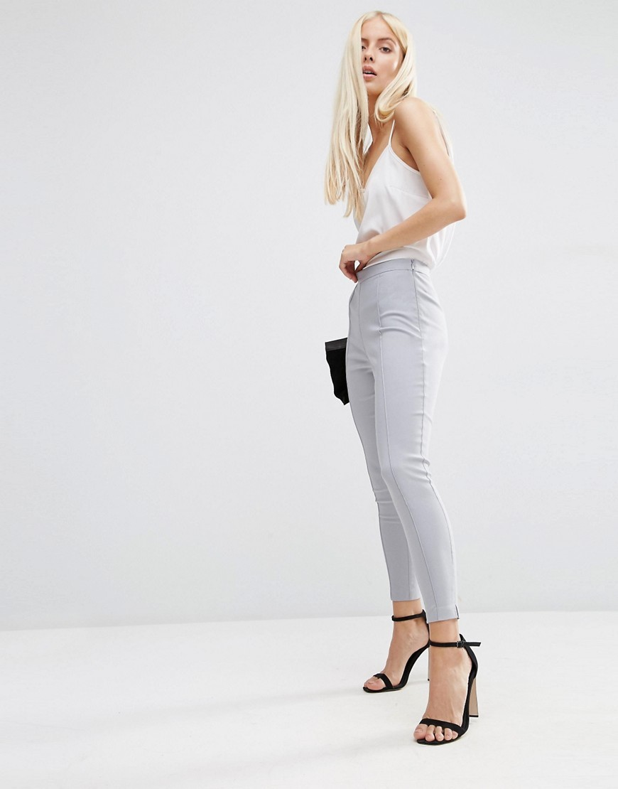 Skinny Crop Trousers Grey - length: standard; pattern: plain; waist: mid/regular rise; predominant colour: light grey; occasions: casual, work, creative work; fibres: viscose/rayon - stretch; fit: skinny/tight leg; pattern type: fabric; texture group: woven light midweight; style: standard; season: s/s 2016; wardrobe: basic