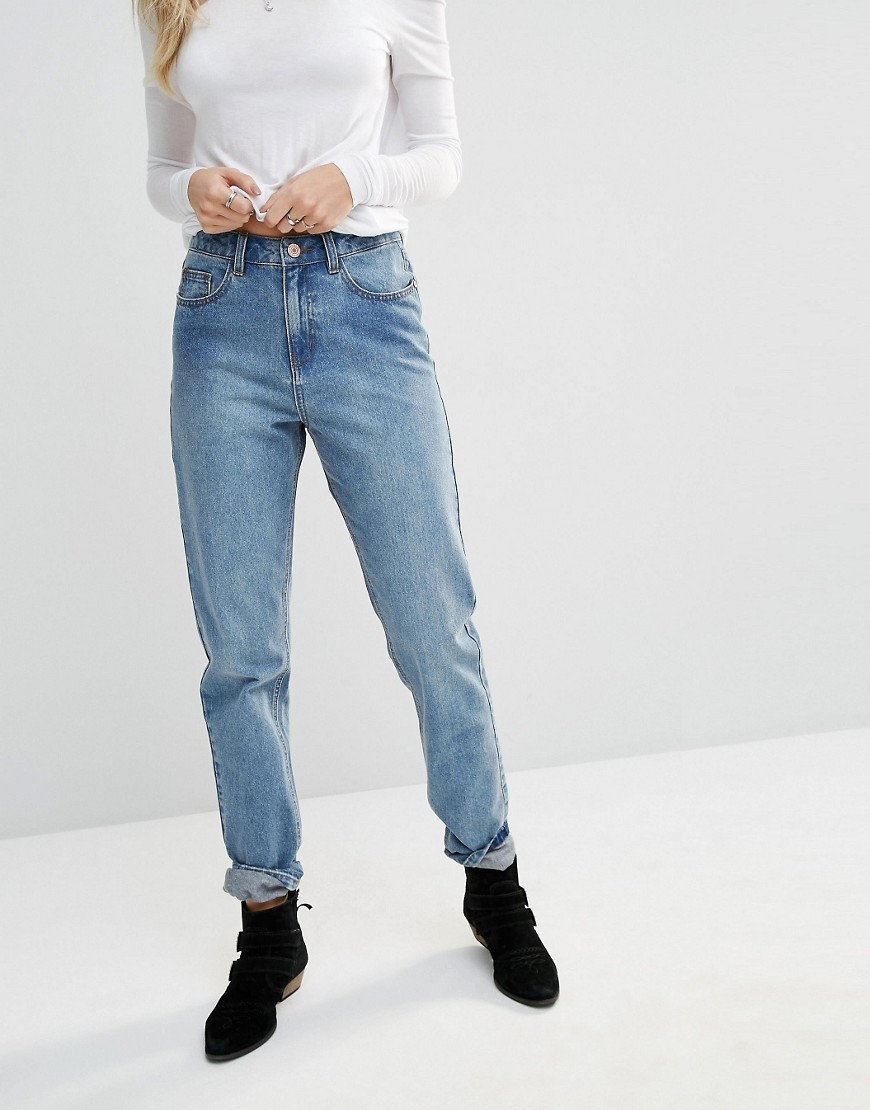 Donna High Waist Mom Jeans Blue - style: boyfriend; length: standard; pattern: plain; waist: high rise; pocket detail: traditional 5 pocket; predominant colour: denim; occasions: casual; fibres: cotton - stretch; jeans detail: washed/faded; texture group: denim; pattern type: fabric; season: s/s 2016; wardrobe: basic