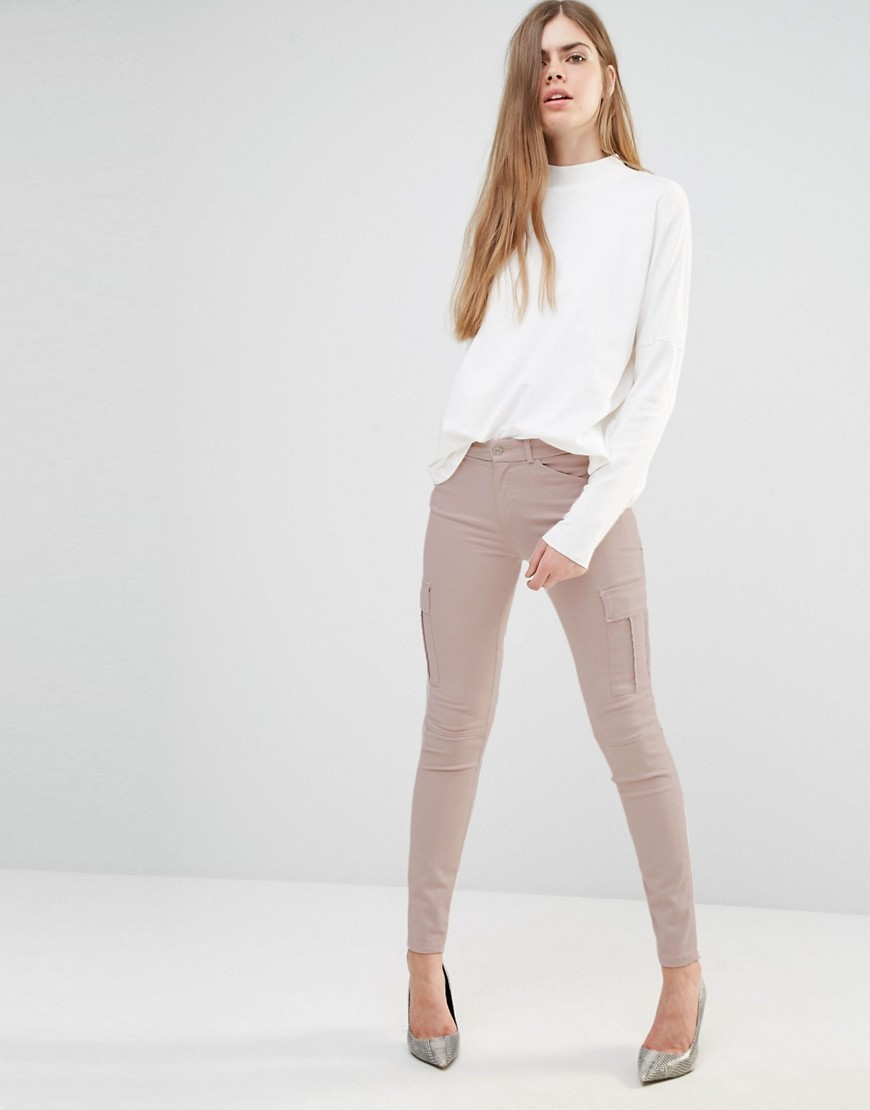 Skinny Cargo Pants Nude - length: standard; pattern: plain; style: leggings; waist: mid/regular rise; predominant colour: nude; occasions: casual, creative work; fibres: polyester/polyamide - stretch; texture group: jersey - clingy; fit: skinny/tight leg; pattern type: fabric; season: s/s 2016; wardrobe: basic