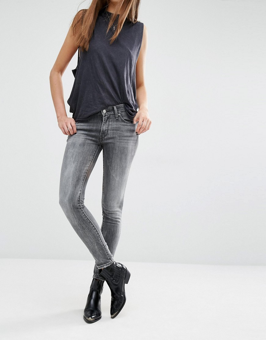 711 Skinny Mid Rise Jeans Monterey Magic - style: skinny leg; length: standard; pattern: plain; pocket detail: traditional 5 pocket; waist: mid/regular rise; predominant colour: light grey; occasions: casual; fibres: cotton - stretch; texture group: denim; pattern type: fabric; season: s/s 2016; wardrobe: highlight