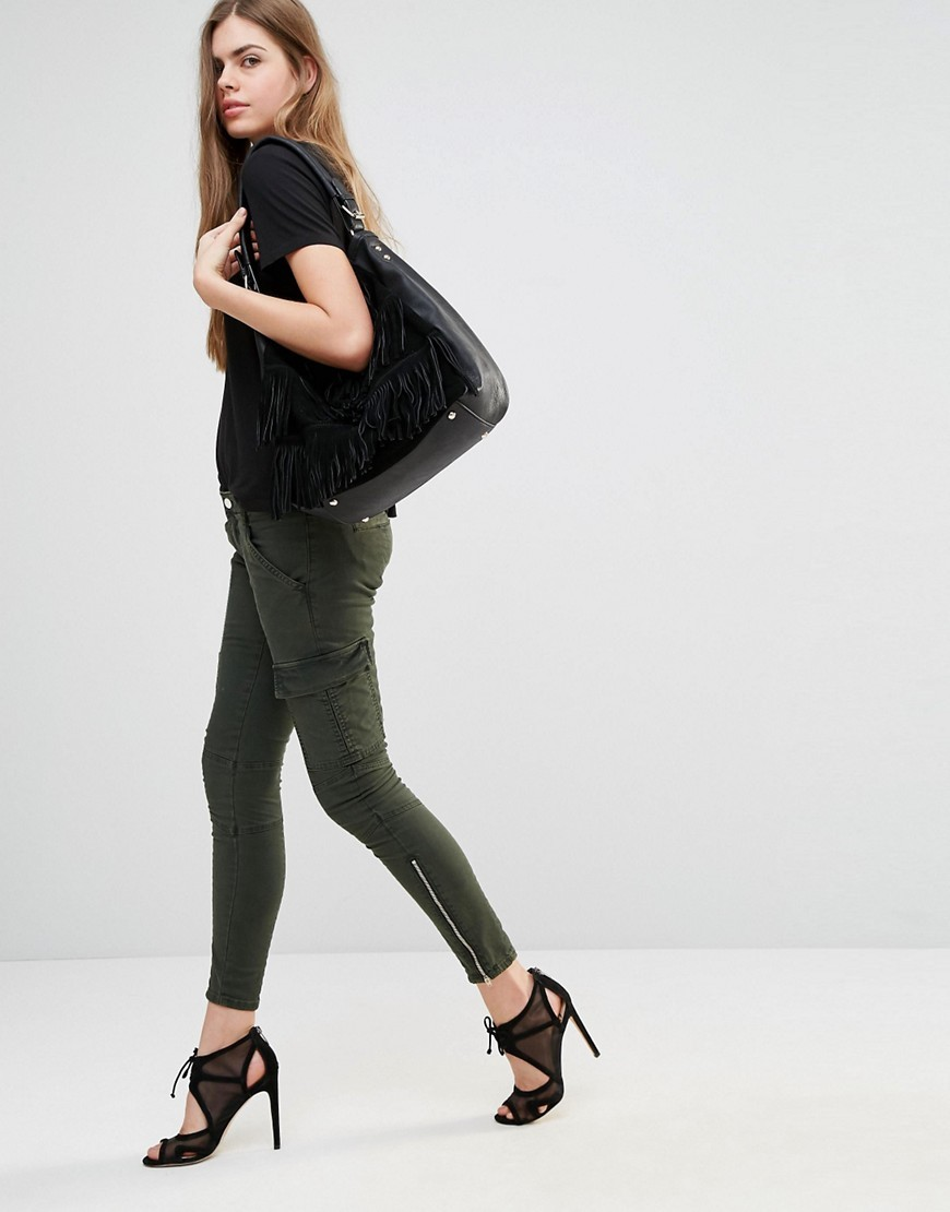 Houlihan Skinny Cargo Trousers Chrome - length: standard; pattern: plain; hip detail: draws attention to hips; waist: mid/regular rise; style: cargo; predominant colour: dark green; occasions: casual; fibres: cotton - stretch; texture group: denim; fit: skinny/tight leg; pattern type: fabric; season: s/s 2016; wardrobe: highlight