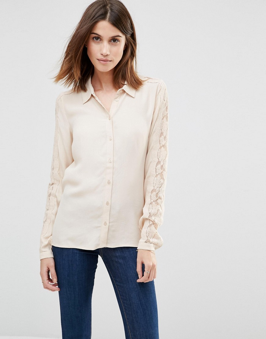 Lace Sleeve Shirt Sand - neckline: shirt collar/peter pan/zip with opening; pattern: plain; style: shirt; predominant colour: ivory/cream; occasions: casual; length: standard; fibres: viscose/rayon - 100%; fit: body skimming; sleeve length: long sleeve; sleeve style: standard; texture group: cotton feel fabrics; pattern type: fabric; embellishment: lace; shoulder detail: sheer at shoulder; season: s/s 2016; wardrobe: highlight